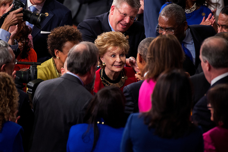 UNITED STATES - JANUARY 20: Del. Madeleine Bordallo, D-Guam, greets President Barack Obama in the Capitol's House chamber before his State of the Union address, January 20, 2015. (Photo By Tom Williams/CQ Roll Call)