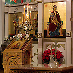 Christmas Eve Vigil Service, St. Sava Serbian Orthodox Church, Jackson, Calif...Icons depicting Mary, Mother of God, (Theotokos) with baby Jesus
