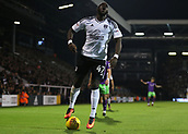 31st October 2017, Craven Cottage, London, England; EFL Championship football, Fulham versus Bristol City; Aboubakar Kamara of Fulham reacting angrily after the referee award Bristol City a free kick after a rough challenge on Hordur Magnusson of Bristol City