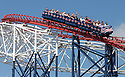30/06/15<br /> <br /> After a morning of cloud,  hot sunny weather finally arrived arrived at lunchtime today as tourists flocked to ride the famous Blackpool roller coaster.<br /> <br /> All Rights Reserved - F Stop Press.  www.fstoppress.com. Tel: +44 (0)1335 418629 +44(0)7765 242650