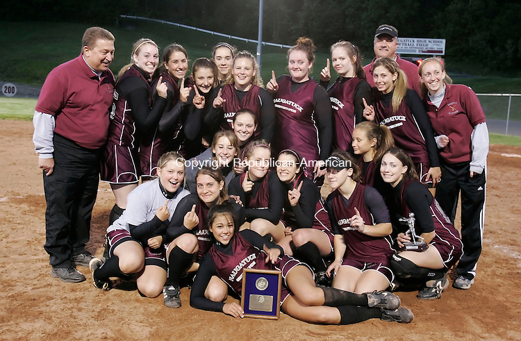 NAUGATUCK, CT 05/23/08- 052308BZ10- Naugatuck High poses after their 4-3 win against Seymour in the NVL tournament final at Naugatuck High School Friday. <br /> Jamison C. Bazinet Republican-American