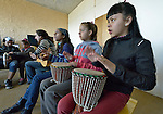 Girls play drums as a guitarist leads students in singing during a class in the Instituto de Buena Voluntad (the Good Will Institute) in Montevideo, Uruguay. Sponsored by the Methodist Church of Uruguay, the institute works with youth and adults with disabilities. It receives financial support from United Methodist Women.