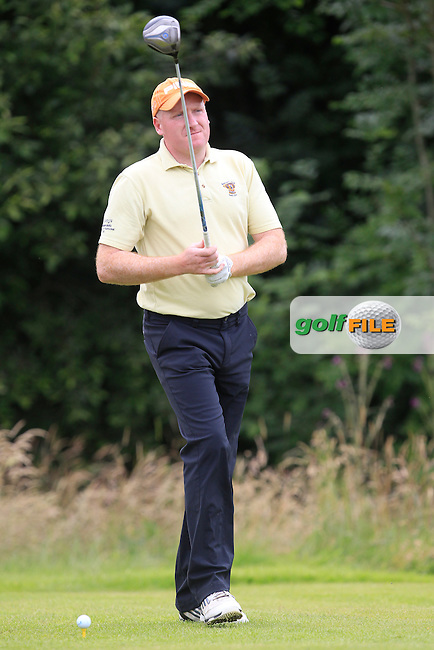 Eugene Harmon (Newcastle West) on the 14th tee during the Final round of the Munster section of the AIG Pierce Purcell Shield at East Clare Golf Club on Sunday 19th July 2015.<br /> Picture:  Golffile | Thos Caffrey