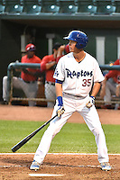 Cody Bellinger (35) of the Ogden Raptors at bat against the Orem Owlz in Pioneer League action at Lindquist Field on August 20, 2014 in Ogden, Utah.  (Stephen Smith/Four Seam Images)