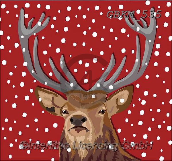 Kate, CHRISTMAS ANIMALS, WEIHNACHTEN TIERE, NAVIDAD ANIMALES,deer, paintings+++++,GBKM535,#xa#