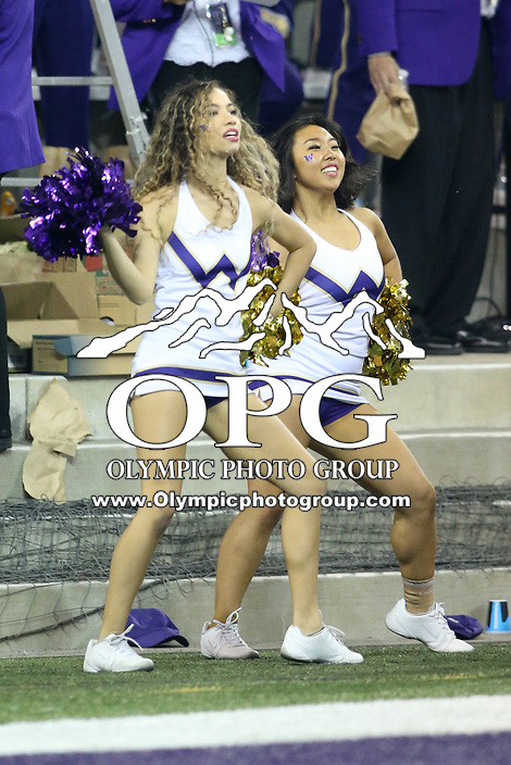 SEATTLE, WA - SEPTEMBER 16:  Washington cheerleader Katia Lucas entertained fans during the football game between the Washington Huskies and the Fresno State Bulldogs on September 16, 2017 at Husky Stadium in Seattle, WA. Washington won 63-7 over Montana.