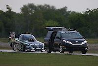 Apr. 26, 2013; Baytown, TX, USA: NHRA funny car driver Alexis DeJoria during qualifying for the Spring Nationals at Royal Purple Raceway. Mandatory Credit: Mark J. Rebilas-