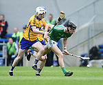 Steven Conway of Clare in action against Conor Boylan of Limerick during their Munster U-21 hurling quarter final at Cusack park. Photograph by John Kelly.