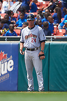 Scranton/Wilkes-Barre RailRiders coach Justin Tordi (24) during a game against the Buffalo Bisons on June 10, 2015 at Coca-Cola Field in Buffalo, New York.  Scranton/Wilkes-Barre defeated Buffalo 7-2.  (Mike Janes/Four Seam Images)