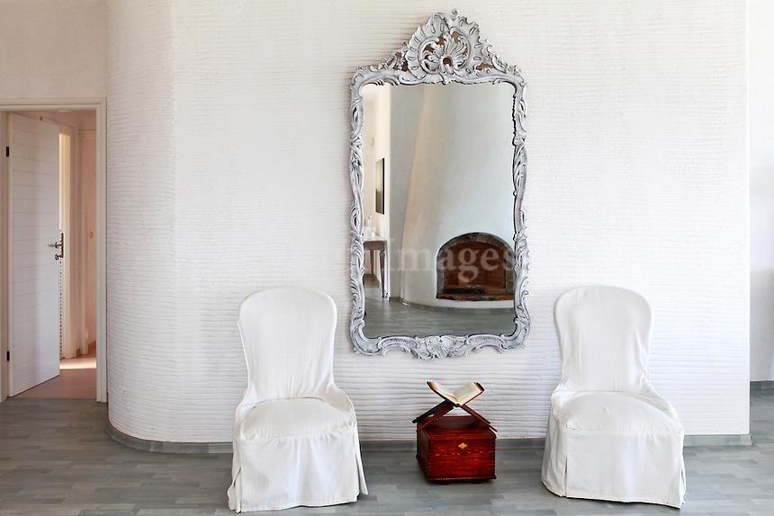 antique patinated mirror