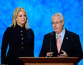Attorneys General Pam Bondi of Florida, left, and Sam Olens of Georgia make remarks at the 2012 Republican National Convention in Tampa Bay, Florida on Wednesday, August 29, 2012.  .Credit: Ron Sachs / CNP.(RESTRICTION: NO New York or New Jersey Newspapers or newspapers within a 75 mile radius of New York City)