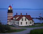 Lubec, Maine:<br /> West Quoddy Head Light at dusk