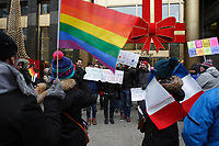 MONTREAL, CANADA - File Photo - A group of supporters express their opinion in favor of homosexual wedding in France, on December 17, 2012 in downtown Montreal's McGill College Avenue.
