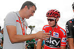Race leader Chris Froome (GBR) Team Sky chats with dignitaries before the start of Stage 18 of the 2017 La Vuelta, running 169km from Suances to Santo Toribio de Li&eacute;bana, Spain. 7th September 2017.<br /> Picture: Unipublic/&copy;photogomezsport | Cyclefile<br /> <br /> <br /> All photos usage must carry mandatory copyright credit (&copy; Cyclefile | Unipublic/&copy;photogomezsport)
