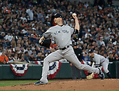 New York Yankees starting pitcher J.A. Happ (34) works in the first inning against the Baltimore Orioles at Oriole Park at Camden Yards in Baltimore, MD on Saturday, April 6, 2019.<br /> Credit: Ron Sachs / CNP<br /> (RESTRICTION: NO New York or New Jersey Newspapers or newspapers within a 75 mile radius of New York City)