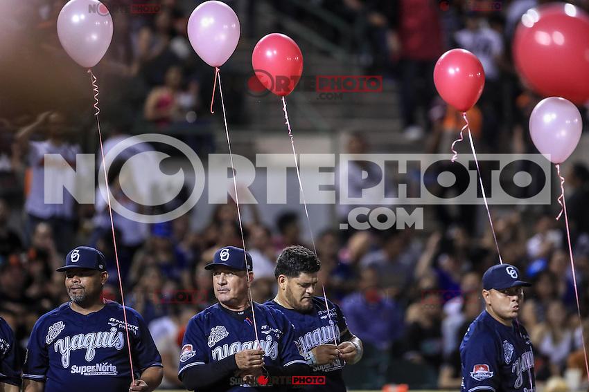 Sueltan globos rosas por la lucha contra el Cancer , durante el partido2 de beisbol entre Naranjeros de Hermosillo vs Yaquis de Obregon. Temporada 2016 2017 de la Liga Mexicana del Pacifico.<br /> &copy; Foto: LuisGutierrez/NORTEPHOTO.COM