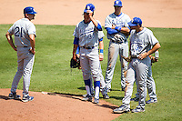 Brandon Dorsett (33) of the Indiana State Sycamores waits with the rest of the infield to be taken out of the game during a game against the Evansville Purple Aces in the 2012 Missouri Valley Conference Championship Tournament at Hammons Field on May 23, 2012 in Springfield, Missouri. (David Welker/Four Seam Images)
