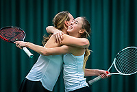 Wateringen, The Netherlands, December 15,  2019, De Rhijenhof , NOJK juniors doubles , Final 12 years years, Rikke de Koning (NED) and Eloise de Mooij (NED) (L)  celebrate matchpoint<br /> Photo: www.tennisimages.com/Henk Koster