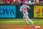 7 October 2017: Chicago Cubs catcher Willson Contreras rounds the bases after hitting a second inning lead-off homer to tie the game 1-1 against the Washington Nationals at Nationals Park in Washington, DC. The Nationals defeated the Cubs 6-3 and even their best of five Postseason series at one game apiece. Mandatory Credit: Ed Wolfstein Photo *** RAW (NEF) Image File Available ***