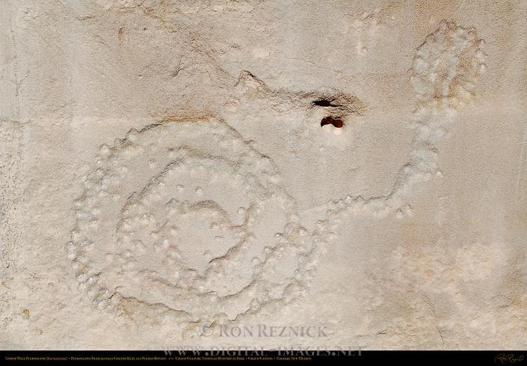 North Wall Rattlesnake Petroglyph, Petroglyph Trail Chetro Ketl to Pueblo Bonito, Chaco Culture National Historical Park, Chaco Canyon, Nageezi, New Mexico