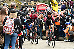 Team Ineos on the front of the peloton during Stage 4 of the 2019 Tour de Yorkshire, running 175km from Halifax to Leeds, Yorkshire, England. 5th May 2019.<br /> Picture: ASO/SWPix | Cyclefile<br /> <br /> All photos usage must carry mandatory copyright credit (&copy; Cyclefile | ASO/SWPix)
