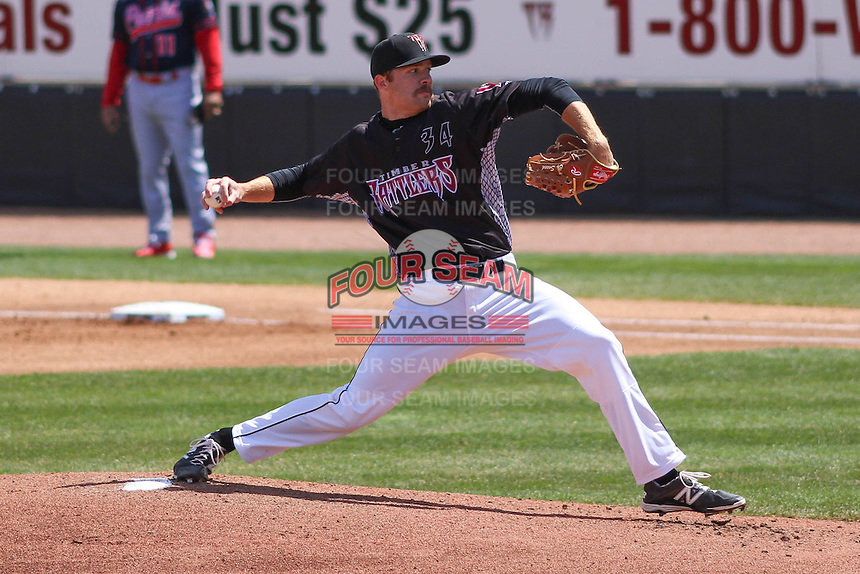Wisconsin Timber Rattlers pitcher Cy Sneed (34) delivers a pitch during a game against the Peoria Chiefs on April 25th, 2015 at Fox Cities Stadium in Appleton, Wisconsin.  Wisconsin defeated Peoria 2-0.  (Brad Krause/Four Seam Images)