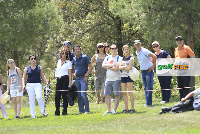 Onlookers at the 2nd watching Francesco Molinari (ITA) and Paul Maddy (ENG) during Round 3 of the Open de Espana  in Club de Golf el Prat, Barcelona on Saturday 16th May 2015.<br /> Picture:  Thos Caffrey / www.golffile.ie