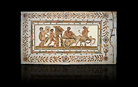 Picture of a Roman mosaics design depicting Dionysus drunk being transported on a chariot pulled by a centaur, they are followed by a Bacchante, follower of Bacchus, and a Satyr, from the ancient Roman city of Thysdrus. 3rd century AD House of Tertulla. El Djem Archaeological Museum, El Djem, Tunisia. Against a black background