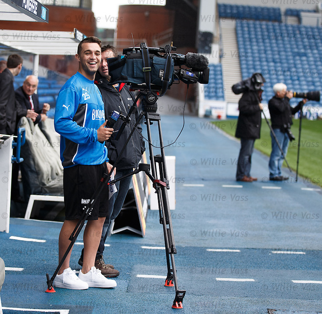 Chris Hegarty trying out the Sky TV camera at training