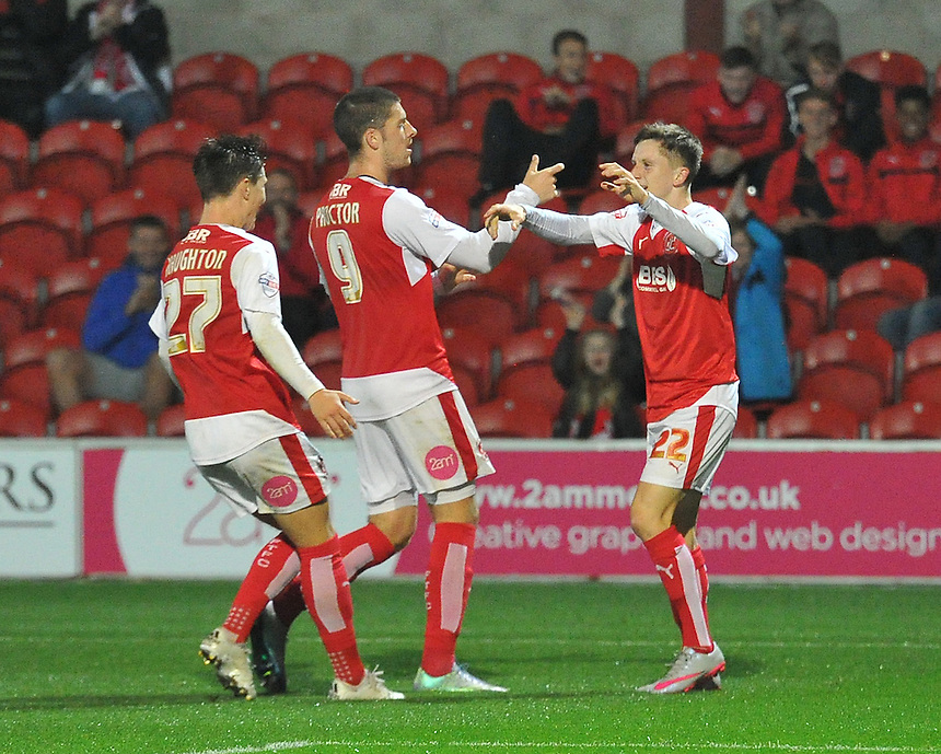 Fleetwood Town's Ashley Hunter is congratulated on scoring his team's 1st goal to make the score 1-1<br /> <br /> Photographer Dave Howarth/CameraSport<br /> <br /> Football - Johnstone's Paint Trophy Northern Section Second Round - Fleetwood Town v Shrewsbury Town - Tuesday 6th October 2015 - Highbury Stadium - Fleetwood<br />  <br /> &copy; CameraSport - 43 Linden Ave. Countesthorpe. Leicester. England. LE8 5PG - Tel: +44 (0) 116 277 4147 - admin@camerasport.com - www.camerasport.com