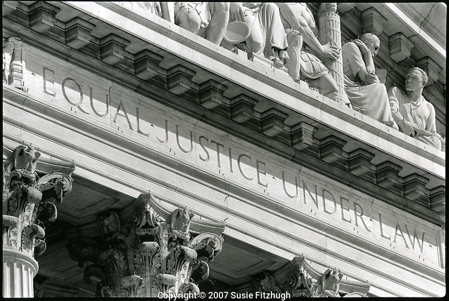 "On its facade, the motto ""Equal Justice for All"""