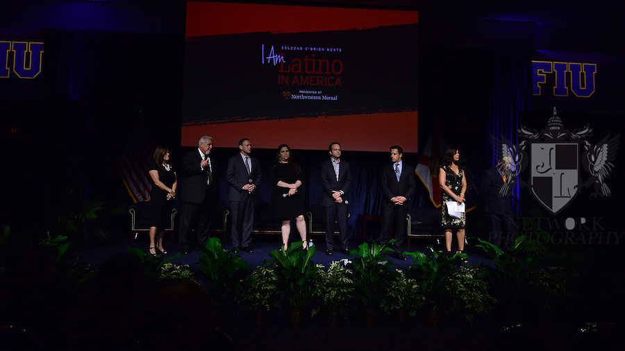 "MIAMI, FL - SEPTEMBER 28: Elizabeth Bejar, VP of Academic Affairs, FIU, Dr. Pedro Jose Greer, Presidential Medal of Freedom, Miami, Brent Wilkes,Executive Director, LULAC National, Washington D.C., Gaby Pacheco,National Dreamer Advocate, Washington D.C., Jorge Plasencia, Co-founder and CEO of República and immediate past chairman of NCLR, Alberto Carvalho, Superintendent of Miami-Dade County Public Schools, Soledad O'Brien, Award-winning Journalist and  Dr. José A. Vicente, President, Miami Dade College's Wolfson Campus attends and Hosts the ""I Am Latino In America"" conversation and Speaking tour at Florida International University presented by Northwestern Mutual on Monday September 28, 2015 in Miami, Florida. ( Photo by Johnny Louis / jlnphotography.com )"