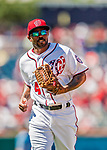30 July 2017: Washington Nationals outfielder Howie Kendrick in action during his first start as a Washington National as a left fielder against the Colorado Rockies at Nationals Park in Washington, DC. The Rockies defeated the Nationals 10-6 in the second game of their 3-game weekend series. Mandatory Credit: Ed Wolfstein Photo *** RAW (NEF) Image File Available ***