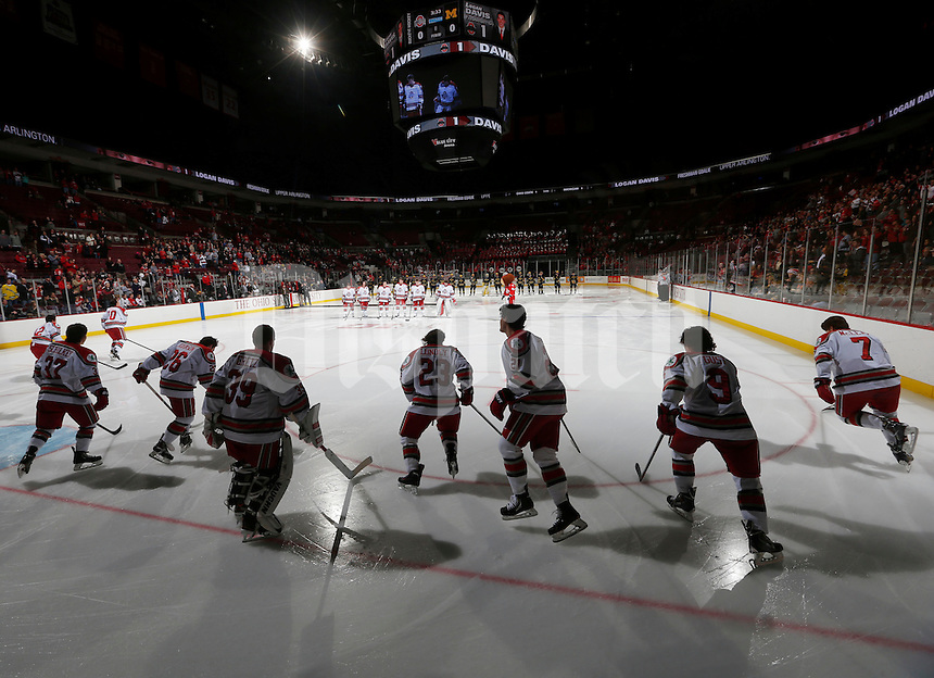 The Buckeyes take to the ice for the Big Ten hockey match against Michigan at Value City Arena in Columbus Dec. 2, 2013.