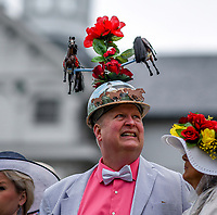 LOUISVILLE, KY - MAY 06: A man wears a hat adorned with horses on Kentucky Derby Day at Churchill Downs on May 6, 2017 in Louisville, Kentucky. (Photo by Scott Serio/Eclipse Sportswire/Getty Images)