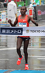 March 3, 2019, Tokyo, Japan - Kenya's Diskson Chumba crosses the finish line of the Tokyo Marathon 2019 in Tokyo on Sunday, March 3, 2019. Chumba finished the third with a time of 2 hours 8 minutes 44 seconds.  (Photo by Yoshio Tsunoda/AFLO)