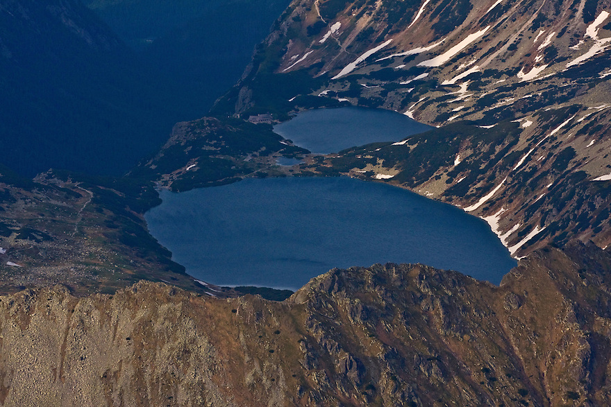 Aerial view of alpine lakes on the Polish side of the High Tatras, Poland. June 2009. Mission: Ticha