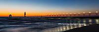 64795-01505 Grand Haven South Pier Lighthouse at sunset on Lake Michigan, Ottawa County, Grand Haven, MI