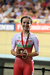 Glasgow 2014 Commonwealth Games<br /> Elinor Barker (Wales) with her bronze medal.<br /> <br /> Womens 10km Scratch Race<br /> Sir Chris Hoy Velodrome<br /> 26.07.14<br /> ©Steve Pope-SPORTINGWALES