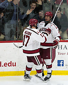 Sean Malone (Harvard - 17), Tyler Moy (Harvard - 2) - The Harvard University Crimson defeated the Yale University Bulldogs 6-4 in the opening game of their ECAC quarterfinal series on Friday, March 10, 2017, at Bright-Landry Hockey Center in Boston, Massachusetts.