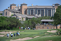 Xinjun Zhang (CHN), Stephan Jaeger (GER), and Shubhankar Sharma (IND) approach the 15th green during Round 1 of the Valero Texas Open, AT&amp;T Oaks Course, TPC San Antonio, San Antonio, Texas, USA. 4/19/2018.<br /> Picture: Golffile | Ken Murray<br /> <br /> <br /> All photo usage must carry mandatory copyright credit (&copy; Golffile | Ken Murray)