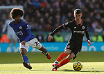 Hamza Choudhury of Leicester City challenges Mason Mount of Chelsea during the Premier League match at the King Power Stadium, Leicester. Picture date: 1st February 2020. Picture credit should read: Darren Staples/Sportimage