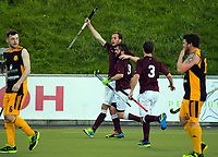 Daan Jongejaan celebrates scoring the opening goal for Hutt during the Wellington premier men's hockey final between Dalefield and Hutt at The National Hockey Stadium, Wellington, New Zealand on Saturday, 12 August 2017. Photo: Dave Lintott / lintottphoto.co.nz