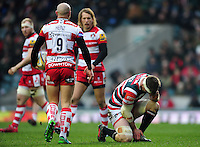Brendon O'Connor of Leicester Tigers crouches down after suffering an injury. Aviva Premiership match, between Leicester Tigers and Gloucester Rugby on February 11, 2017 at Welford Road in Leicester, England. Photo by: Patrick Khachfe / JMP
