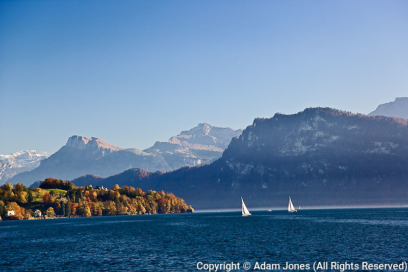 Sailboats on Lake Lucerne and autumn colors, Lucerne, Switzerland