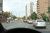 Driving along Sherbrooke street in downtown Montreal