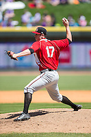 Carolina Mudcats relief pitcher David Peterson (17) in action against the Winston-Salem Dash at BB&T Ballpark on April 22, 2015 in Winston-Salem, North Carolina.  The Dash defeated the Mudcats 4-2..  (Brian Westerholt/Four Seam Images)