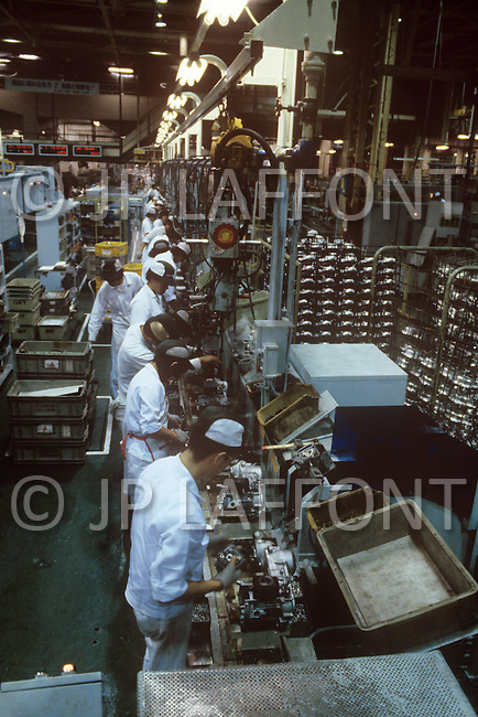 October, 1980. Suzuka, Japan. The assembly line at the Honda factory for scooters and motorbikes in Suzuka.