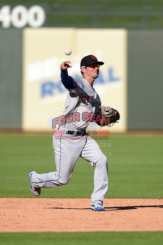 Scottsdale Scorpions infielder Matt Reynolds (3) during an Arizona Fall League game against the Surprise Saguaros on October 11, 2014 at Surprise Stadium in Surprise, Arizona.  Scottsdale defeated Surprise 7-6.  (Mike Janes/Four Seam Images)