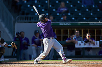 John Michael Boswell (8) of the Furman Paladins follows through on his swing against the Wake Forest Demon Deacons at BB&T BallPark on March 2, 2019 in Charlotte, North Carolina. The Demon Deacons defeated the Paladins 13-7. (Brian Westerholt/Four Seam Images)